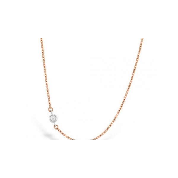 DIAMOND PENDANTS - 18 KARAT ROSE GOLD OFF-SET TRIPLE BEZEL DIAMOND NECKLACE .05 CARAT TOTAL WEIGHT NEAR COLORLESS DIAMONDS BY HEARTS ON FIRE