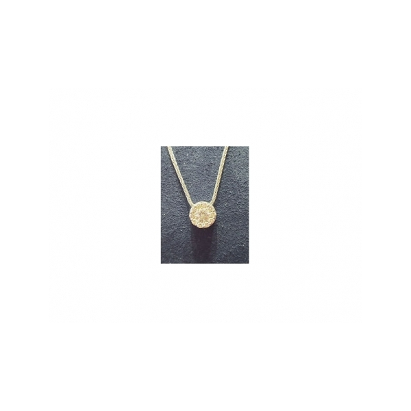 DIAMOND PENDANTS - 18 KARAT YELLOW GOLD DIAMOND 'FULFILLMENT' ROUND PENDANT ON YELLOW GOLD CABLE CHAIN SET WITH 1/2  CARAT TOTAL WEIGHT IN IDEAL CUT DIAMONDS BY HEARTS ON FIRE