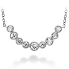 DIAMOND PENDANTS - COPLEY BEZEL SET DIAMOND NECKLACE' IN 18 KARAT WHITE GOLD WITH .38 CARAT TOTAL WEIGHT IN IDEAL CUT NEAR COLORLESS / VS-SI CLARITY DIAMONDS BY HEARTS ON FIRE
