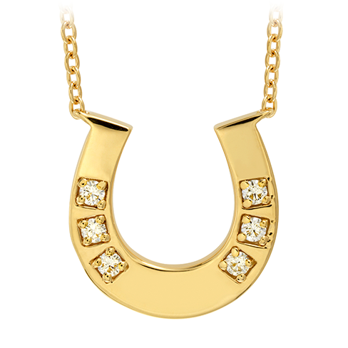 DIAMOND PENDANTS - HEARTS ON FIRE 18 KARAT YELLOW GOLD DIAMOND HORSESHOE NECKLACE SET WITH .06-.11 CARAT TOTAL WEIGHT DIAMONDS