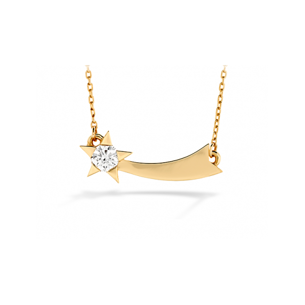 DIAMOND PENDANTS - HEARTS ON FIRE ILLA 18 KARAT ROSE GOLD SINGLE DIAMOND COMET NECKLACE SET WITH .13 CARAT TOTAL WEIGHT DIAMONDS