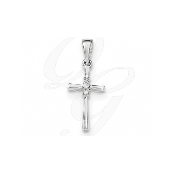 DIAMOND PENDANTS - 14 KARAT WHITE DIAMOND CROSS PENDANT