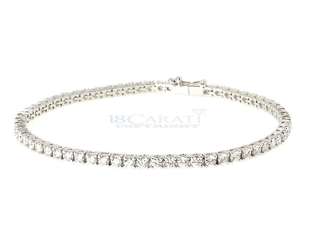 DIAMOND BRACELETS - 14 KARAT WHITE GOLD DIAMOND LINE BRACELET SET WITH 62 ROUND DIAMONDS 1.72 CARAT TOTAL WEIGHT BY MALAKAN DIAMOND