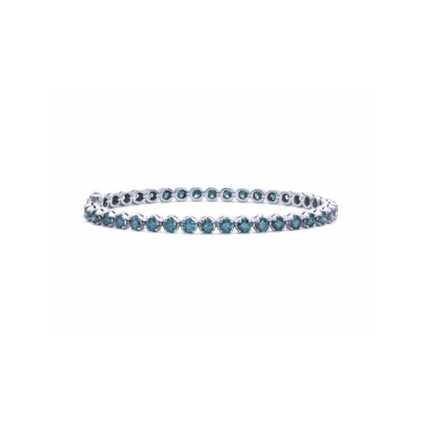 DIAMOND BRACELETS - 14 KARAT WHITE GOLD DIAMOND LINE BRACELET SET WITH 47 ROUND BLUE TREATED DIAMONDS 3.93 CARAT TOTAL WEIGHT BY MALAKAN DIAMOND