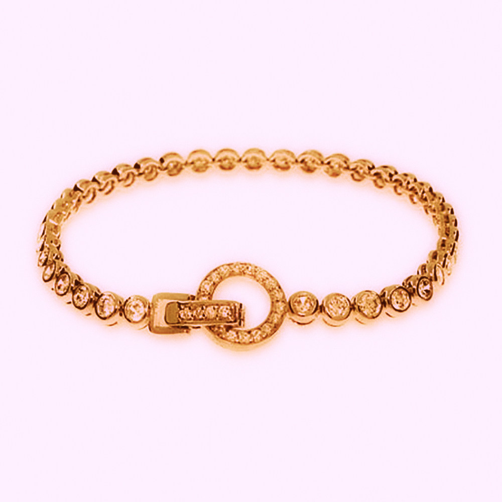 DIAMOND BRACELETS - 14 KARAT ROSE GOLD DIAMOND BRACELET  WITH CIRCLE CLASP SET WITH 71 ROUND DIAMONDS 1.58 CARAT TOTAL WEIGHT BY MALAKAN DIAMOND