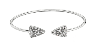 DIAMOND BRACELETS - 14 KARAT WHITE GOLD FLEX CUFF BANGLE WITH DIAMOND ENDS .75 CARAT TOTAL WEIGHT BY CORDOVA DESIGN