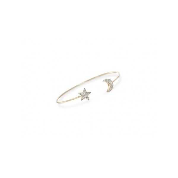 DIAMOND BRACELETS - 14 KARAT WHITE GOLD BANGLE SET WITH DIAMOND STAR AND MOON ENDS .23 CARAT TOTAL WEIGHT BY ASHER JEWELRY