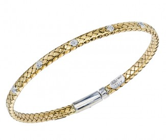 STERLING SILER/GOLD AND DIAMOND BRACELETS - 18 KARAT YELLOW GOLD FLAT BASKET WEAVE BRACELET WITH .10 CARAT TOTAL WEIGHT DIAMONDS SET IN STERLING SILVER BEZELS AND LOCK BY ALISA DESIGN