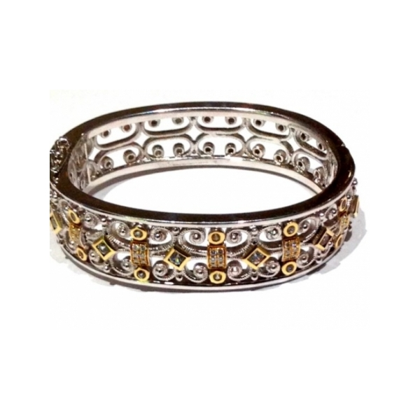 STERLING SILVER AND DIAMOND BRACELETS - ANTIQUES SILVER AND 18 KARAT YELLOW GOLD ETRUSCAN COLLECTION BANGLE SET WITH 1.64 CARAT  WHITE SAPPHIRES AND .38 CARAT TOTAL WEIGHT WHITE DIAMONDS BY ELI DESIGN