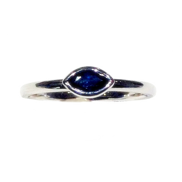 PRECIOUS COLOR, 14K, & PLATINUM RINGS - 14 KARAT WHITE GOLD SAPPHIRE BEZEL SET RING (ONE OF A KIND)