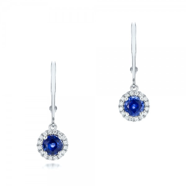 RUBY EARRINGS - 14 KARAT WHITE GOLD LEVERBACK EARRINGS SET WITH 2 ROUND SAPPHIRE CENTERS .36 CARAT WITH DIAMOND HALO 18 ROUND DIAMONDS .05 CARAT TOTAL WEIGHT BY MADISON DESIGN