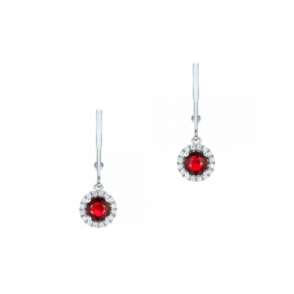 RUBY EARRINGS - 14 KARAT WHITE GOLD LEVERBACK EARRINGS SET WITH 2 ROUND RUBY CENTERS .31 CARAT WITH DIAMOND HALO SET WITH 18 ROUND DIAMONDS .05 CARAT TOTAL WEIGHT BY MADISON DESIGN