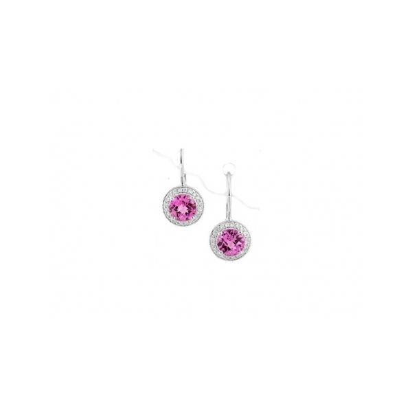 RUBY EARRINGS - 14 KARAT WHITE GOLD LEVER BACK EARRINGS WITH 2 ROUND CREATED PINK SAPPHIRE .28 CARAT IN DIAMOND HALO WITH 18 ROUND DIAMONDS .05 CARAT TOTAL WEIGHT BY MADISON DESIGN