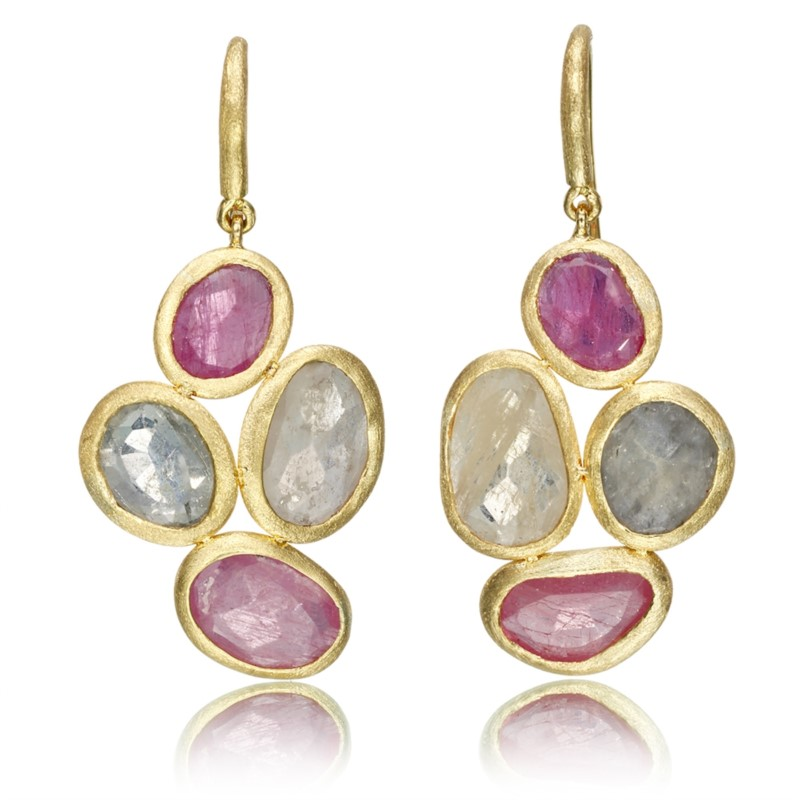 RUBY EARRINGS - 18 KARAT YELLOW GOLD EARRINGS COMBINING 13.50 CARATS OF NATURAL SAPPHIRES