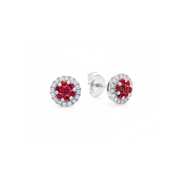 RUBY EARRINGS - 14 KARAT WHITE GOLD RUBY AND DIAMOND EARRINGS SET WITH .29 CARAT TOTAL WEIGHT IN DIAMONDS AND .60 CARAT TOTAL WEIGHT IN FINE QUALITY RUBIES BY FANA