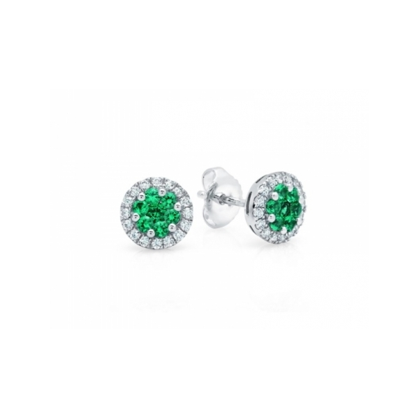 RUBY EARRINGS - 14 KARAT WHITE GOLD EMERALD AND DIAMOND EARRINGS SET WITH .29 CARAT TOTAL WEIGHT IN DIAMONDS AND .50 CARAT TOTAL WEIGHT IN FINE QUALITY EMERALDS BY FANA
