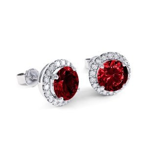 RUBY EARRINGS - 14 KARAT WHITE GOLD STUD EARRINGS WITH .23 CARAT TOTAL WEIGHT DIAMONDS AND .56 CARAT TOTAL WEIGHT RUBY