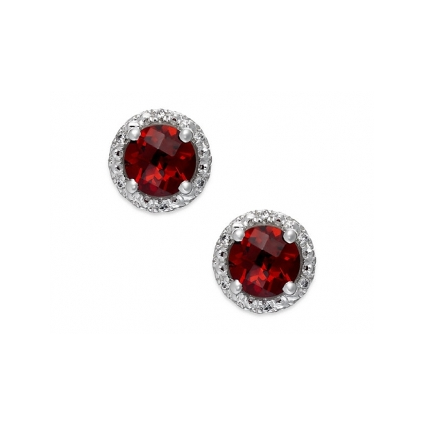 RUBY EARRINGS - 14 KARAT WHITE GOLD ROUND GARNET STUD EARRINGS .28 CARAT SET IN DIAMOND HALOS WITH 18 ROUND DIAMONDS .05 CARAT TOTAL WEIGHT BY MADISON DESIGN