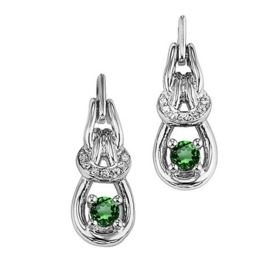 STERLING SILVER/GOLD COMBO SAPPHIRE EARRINGS - STERLING SILVER  POST DROP EMERALD INFINITY EARRINGS.32 CARAT TOTAL WEIGHT