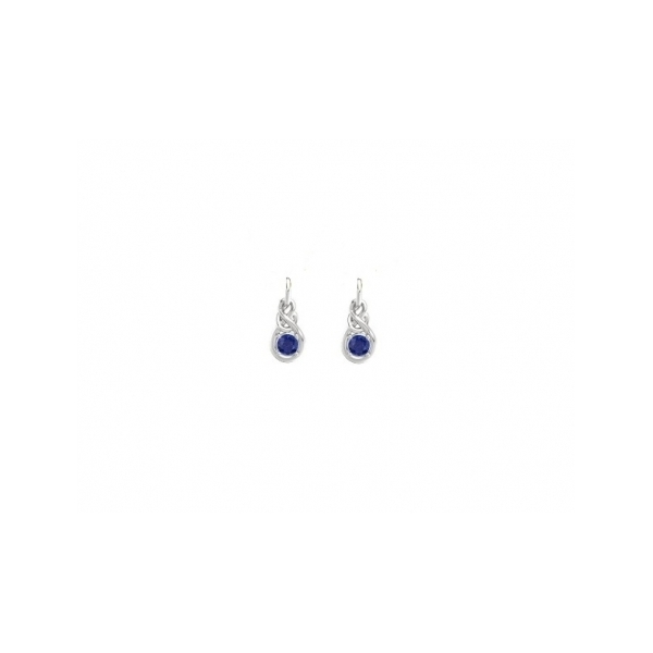 STERLING SILVER/GOLD COMBO SAPPHIRE EARRINGS - STERLING SILVER POST DROP SAPPHIRE INFINITY EARRINGS .38 CTW