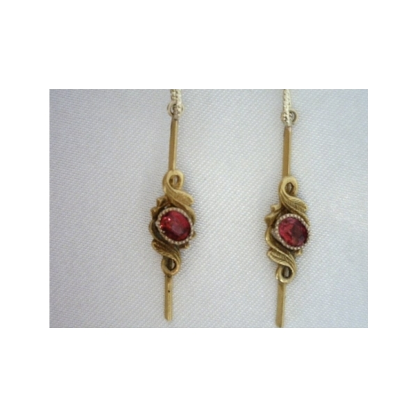 KARAT GOLD/PLATINUM GEMSTONE EARRINGS - 14 KARAT WHITE GOLD WIRE DROP ANTIQUE STYLE EARRINGS SET WITH ROUND GARNETS