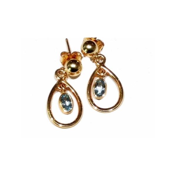 KARAT GOLD/PLATINUM GEMSTONE EARRINGS - 14 KARAT YELLOW GOLD BLUE TOPAZ DROP EARRINGS