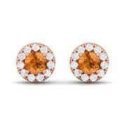 KARAT GOLD/PLATINUM GEMSTONE EARRINGS - 14 KARAT WHITE GOLD ROUND CITRINE STUD EARRINGS .18 CARAT IN DIAMOND HALO SETTING WITH 18 ROUND DIAMONDS .05 CARAT TOTAL WEIGHT BY MADISON DESIGN