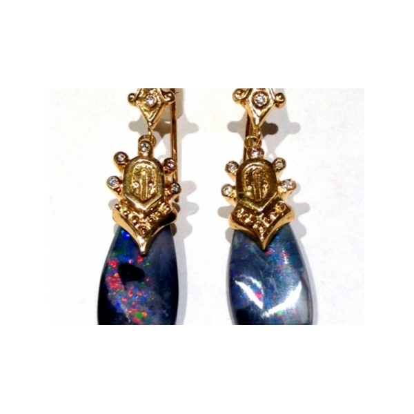 KARAT GOLD/PLATINUM GEMSTONE EARRINGS - 14 KARAT YELLOW GOLD BLACK OPAL AND DIAMOND EARRINGS SUSPENDED ON GOLD WIRES / ONE OF A KIND BY JUST JULES