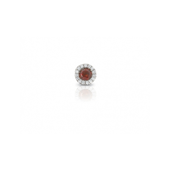 SEMI-PRECIOUS PENDANTS - 14 KARAT WHITE GOLD  'ENCORE' COLLECTION PENDANT SET WITH A  .25 CARAT GARNET AND .06 CARAT TOTAL WEIGHT IN ROUND BRILLIANT, NEAR COLORLESS / VS-SI CLARITY DIAMONDS BY CORDOVA ( CABLE CHAIN NOT INCLUDED)