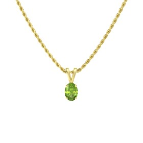 SEMI-PRECIOUS PENDANTS - 14 KARAT YELLOW GOLD AND PERIDOT PENDANT
