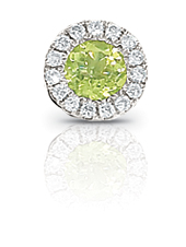 SEMI-PRECIOUS PENDANTS - 14 KARAT WHITE GOLD 'ENCORE' COLLECTION PENDANT SET WITH .25 CARAT PERIDOT AND .06 CARAT TOTAL WEIGHT IN NEAR COLORLESS/ VS-SI CLARITY DIAMONDS (CHAIN NOT INCLUDED)