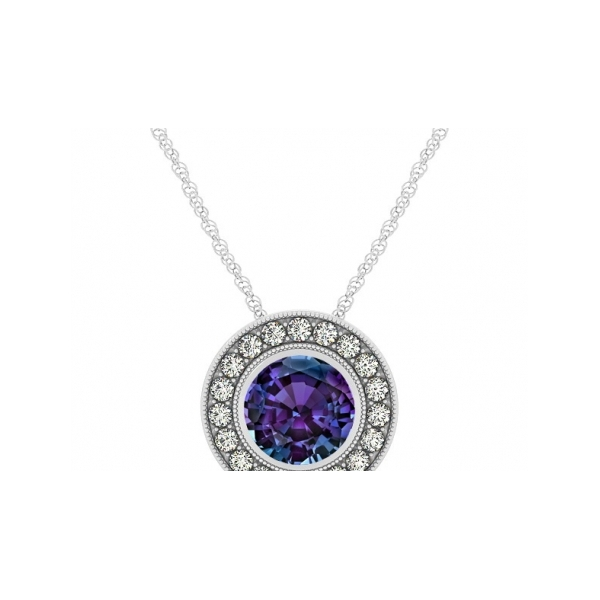 SEMI-PRECIOUS PENDANTS - 14 KARAT WHITE GOLD ' ENCORE' COLLECTION PENDANT SET WITH .25 CARAT SYNTHETIC ALEXANDRITE AND.06 CARAT TOTAL WEIGHT IN ROUND BRILLIANT, NEAR COLORLESS / VS-SI CLARITY DIAMONDS BY CORDOVA ( CABLE CHAIN NOT INCLUDED)