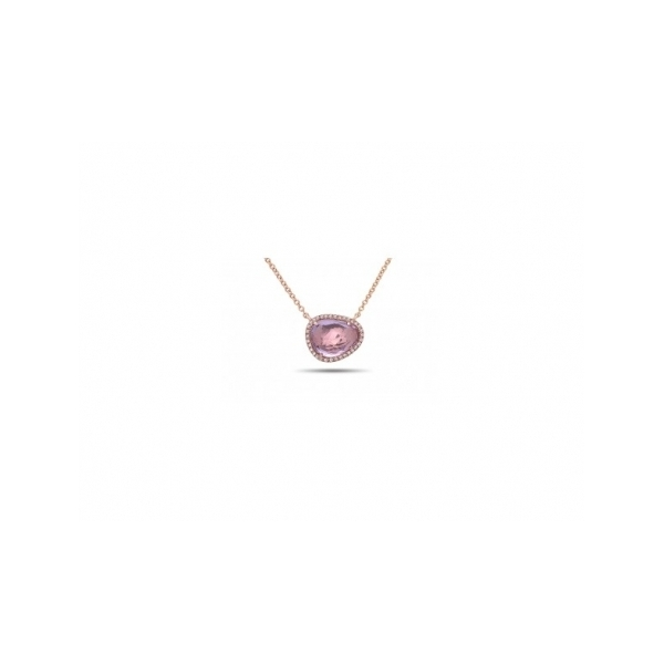 SEMI-PRECIOUS PENDANTS - 14 KARAT ROSE GOLD 1.75 CARAT PINK AMETHYST AND .08 CARAT TOTAL WEIGHT DIAMOND HALO PENDANT ON CABLE CHAIN BY DILAMANI DESIGN