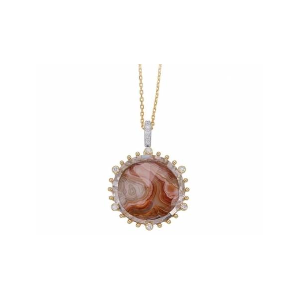 SEMI-PRECIOUS PENDANTS - 18 KARAT YELLOW GOLD MEDIUM ROUND 33.25 CARAT LAGUNA AGATE AND CRYSTAL AND 6 DIAMOND .06 CARAT TOTAL WEIGHT TIVOIL PENDANT WITH ATTACHED CHAIN BY FREDERIC SAGE
