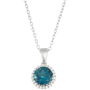 SEMI-PRECIOUS PENDANTS - 14 KARAT WHITE GOLD BLUE TOPAZ AND DIAMOND PENDANT ON CHAIN SET WITH ROUND BLUE TOPAZ CENTER .54 CARAT AND 14 ROUND DIAMOND HALO .04 CARAT TOTAL WEIGHT BY MADISON DESIGN