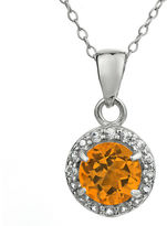 SEMI-PRECIOUS PENDANTS - 14 KARAT WHITE GOLD CITRINE AND DIAMOND PENDANT ON CHAIN SET WITH ROUND .52 CARAT CIRTRINE AND 14 ROUND DIAMOND HALO .04 CARAT TOTAL WEIGHT BY MADISON DESIGN