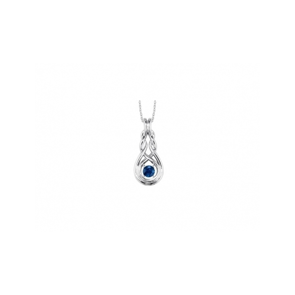 STERLING SILVER AND GOLD  NECKLACE / PENDANT - STERLING SILVER INFINITY SAPPHIRE NECKLACE .30 CARAT TOTAL WEIGHT