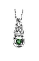 STERLING SILVER AND GOLD  NECKLACE / PENDANT - STERLING SILVER INFINITY PENDANT WITH EMERALD .21 CARAT