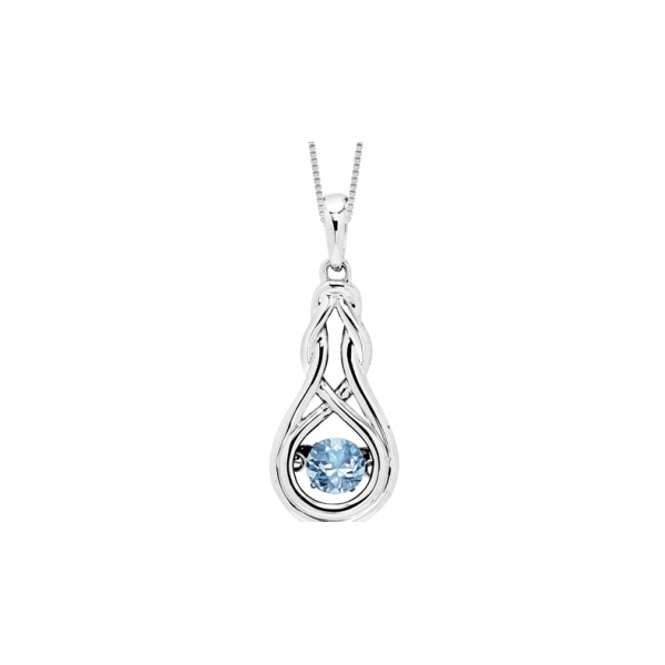 STERLING SILVER AND GOLD  NECKLACE / PENDANT - STERLING SILVER LOVE KNOT PENDANT ON BOX CHAIN SET WITH .28 CARAT BLUE TOPAZ