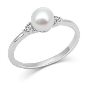 PEARL RINGS - 10 KARAT WHITE GOLD WHITE PEARL AND DIAMOND RING WITH 6 DIAMONDS .04 CARAT TOTAL WEIGHT