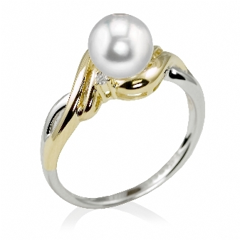 PEARL RINGS - 14 KARAT TWO TONE WHITE 7 -7.5 MM FRESHWATER PEARL AND DIAMOND RING SET WITH 2 DIAMONDS .02 CARAT TOTAL WEIGHT