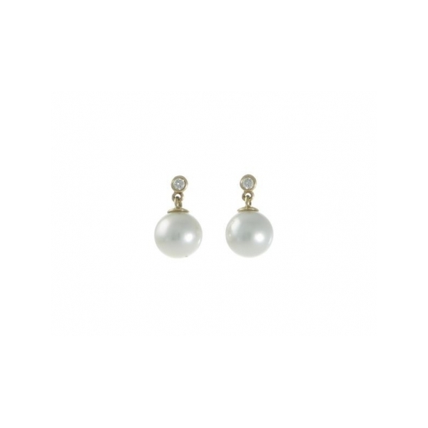 PEARL EARRINGS - 18 KARAT YELLOW GOLD 7.8-8 MILLIMETER CULTURED PEARL STUD EARRINGS WITH BEZEL SET DIAMOND TOP .12 CARAT TOTAL WEIGHT