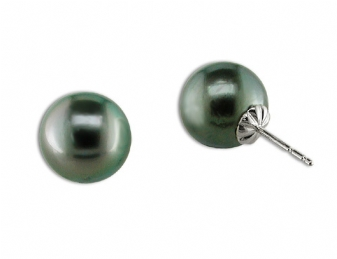 PEARL EARRINGS - 11-12 MILLIMETER TAHITIAN PEARLS SET IN 14 KARAT WHITE GOLD