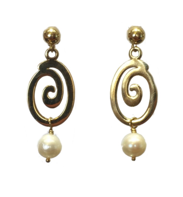 PEARL EARRINGS - 14 KARAT YELLOW GOLD AND PEARL DROP EARRINGS