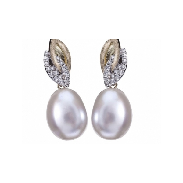 PEARL EARRINGS - 18 KARAT YELLOW GOLD EARRINGS COMBINING 8X11MM FRESHWATER PEARLS SET WITH .31 CTW DIAMONDS BY YVEL DESIGN