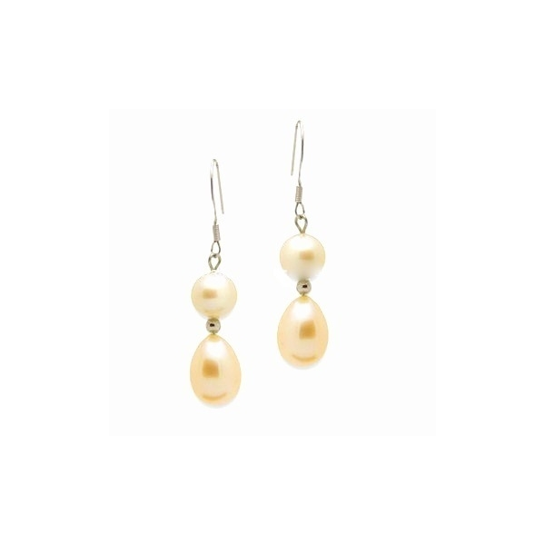 PEARL EARRINGS - 14 KARAT YELLOW GOLD TREATED NATURAL COLOR DOUBLE PEARL EARRINGS ON WIRES -  BY PARAGON DESIGN