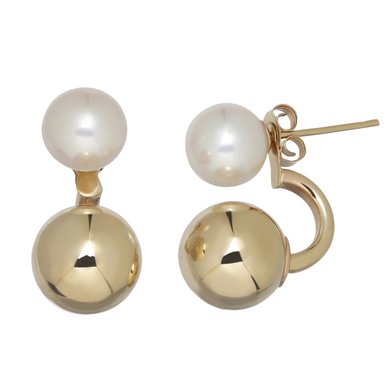 PEARL EARRINGS - 14 KARAT YELLOW GOLD 7.5-8 MM WHITE ROUND FRESHWATER PEARL AND GOLD BALL EARRING BY HONORA DESIGN