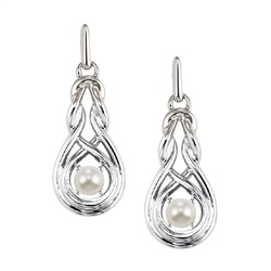 PEWTER & PLATED JEWELRY - STERLING SILVER POST DROP INFINITY PEARL EARRINGS