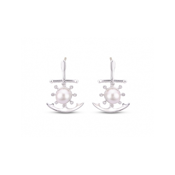 PEWTER & PLATED JEWELRY - STERLING SILVER 5.5-6 MM FRESHWATER PEARL AND WHITE TOPAZ ANCHOR EARRINGS