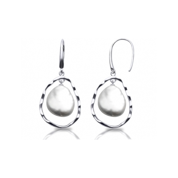 PEWTER & PLATED JEWELRY - STERLING SILVER BAROQUE PEARL EARRINGS